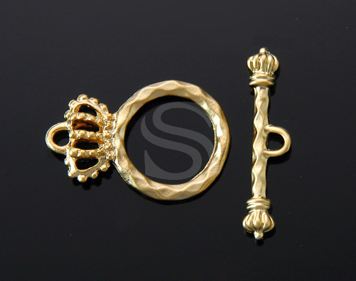 [BS0908-MG] 2 Pcs / Crown Toggle Clasps / Pewter / 15mm x 23mm / 24mm x 5.5mm