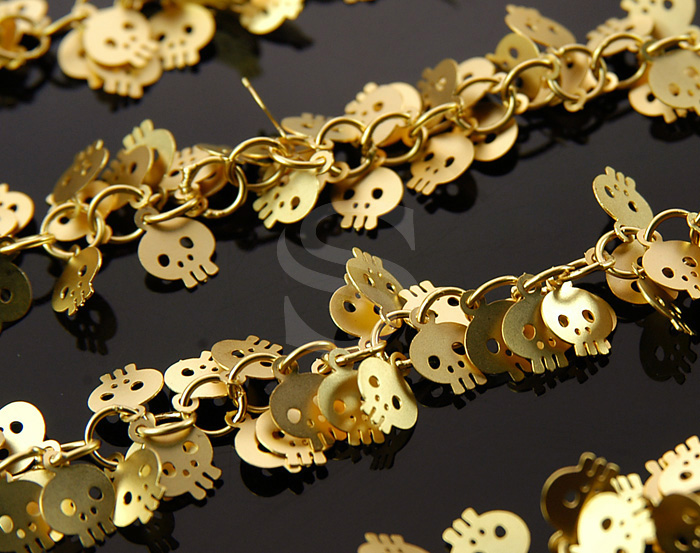 [CH0817-G] 1m / Cute Skull Charm Cluster Chain / Brass / 6mmx7mm , 4.5mm
