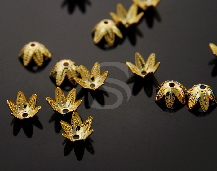 [BS0707-G] 20 Pcs / Unique Flower Bowl Beads Cap / Brass / 7mm