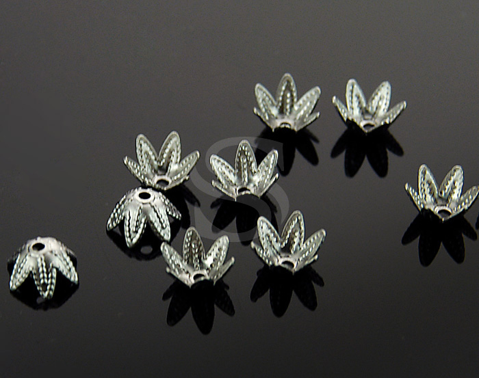 [BS0707-MS] 10 Pcs / Unique Flower Bowl Beads Cap / Brass / 7mm