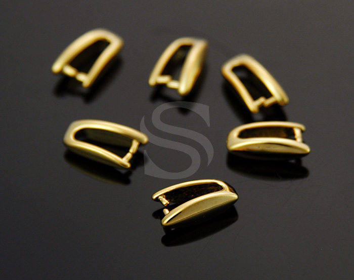 [B1666-P-G] 6 Pcs / Ice Pick Pendant Bail / Brass / 3.2mm x 9.5mm