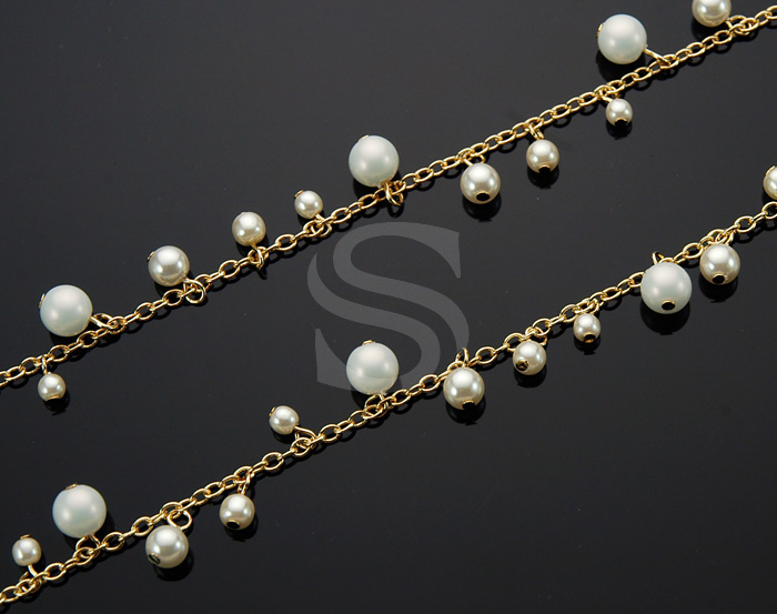 [CH1004-G] 1m / Various Size Pearl Cluster Chain / Brass / 7.8mm