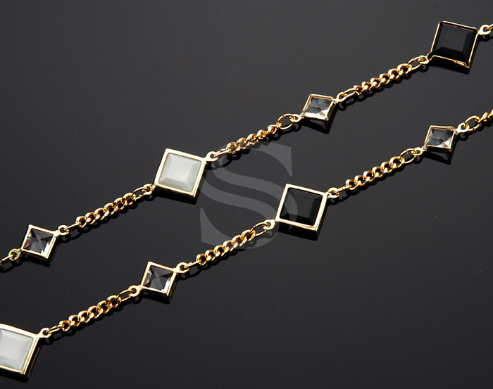 [CH1008-G] 1m / Various Beads Cluster Chain / Brass / 10mm