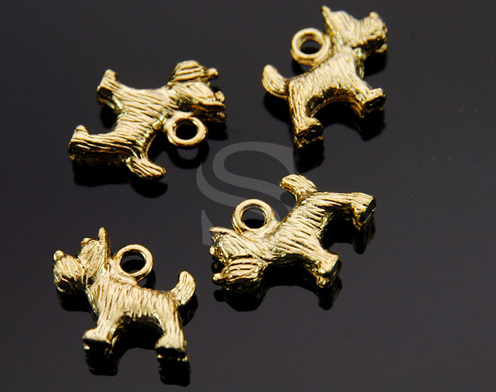 [C-097-G] 4 Pcs / Cute Scottish Terrier Dog Charm / Pewter / 15mm x 13mm