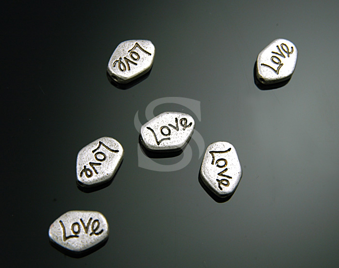[C-194-AS] 6 Pcs / Adorable Love peddle Beads / Pewter / 8mmx11mm
