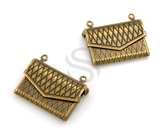[B1592-P-AC] 2 Pcs / Highly Detailed Check Pattern Bag Locket / Pewter / 22mmx17mm