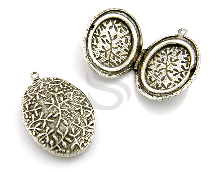[B1596-P-AS] 2 Pcs / Beutiful Branch Textured Oval Locket / Brass / 23mmx32mm