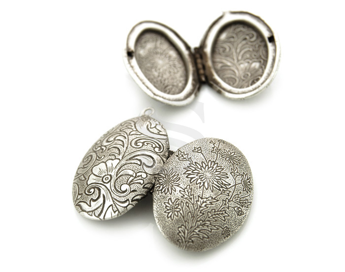 [B1599-P-AS] 2 Pcs / Beutiful Flower Textured Oval Locket / Brass / 42mm x 27mm