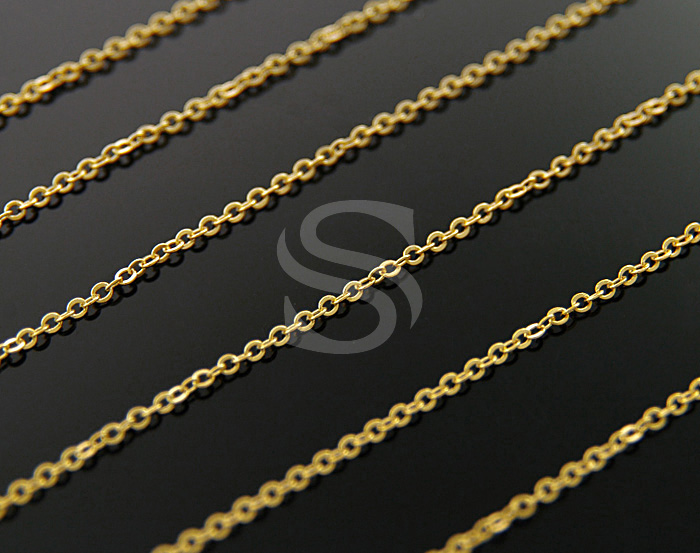 [CH0001-30-G] 1m / Small Flat Cable Chain / Brass / 1.4mmx 1.7mm