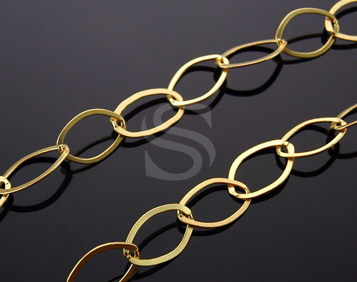 [CH0004-MG] 1m / Flat Marquise Link Chain / Brass / 14mm x 22mm