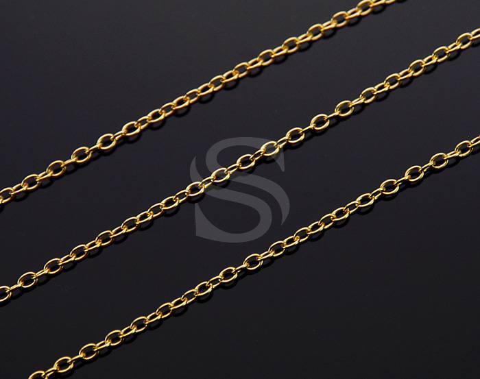 [CH0100-45-G] 1m / Cable Chain / Brass / 2mm x 2.8mm