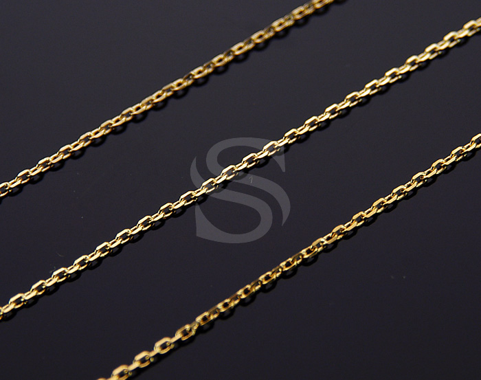 [CH0106-G] 1m / Diamond Cut Cable Chain / Brass / 2mm x 2.8mm