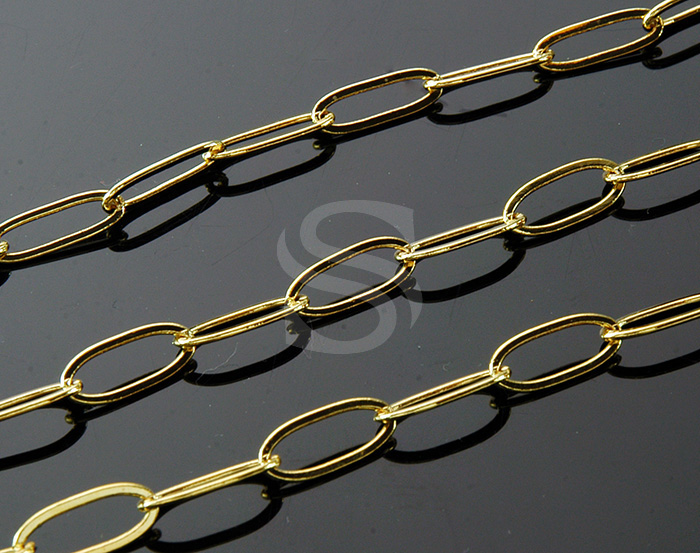 [CH0505-G] 1m / Long Oval Drawn Flat Cable Chain / Brass / 14.6mm x 4.7mm