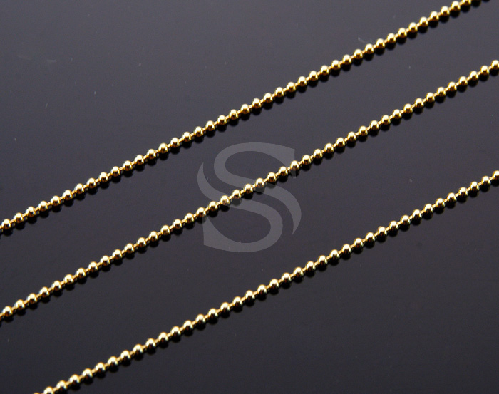 [CH0707-G] 1m / Small Beaded Chain / Brass / 1.3mm