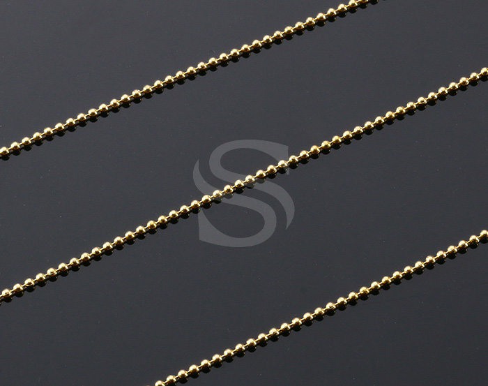 [CH0707-MG] 1m / Small Beaded Chain / Brass / 1.3mm