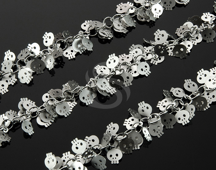 [CH0817-MS] 1m / Cute Skull Charm Cluster Chain / Brass / 6mmx7mm , 4.5mm