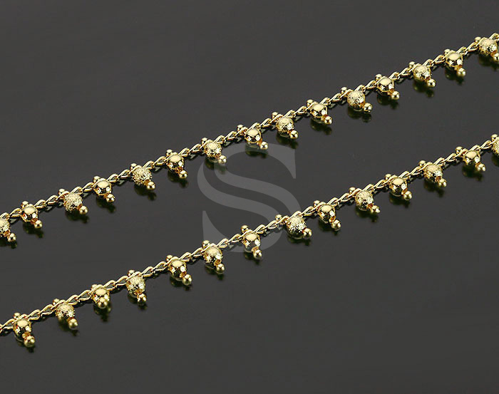 [CH0823-G] 1 m / Textured Ball Chain / 6.6mm (Ball Size: 1.5mm / 3mm)
