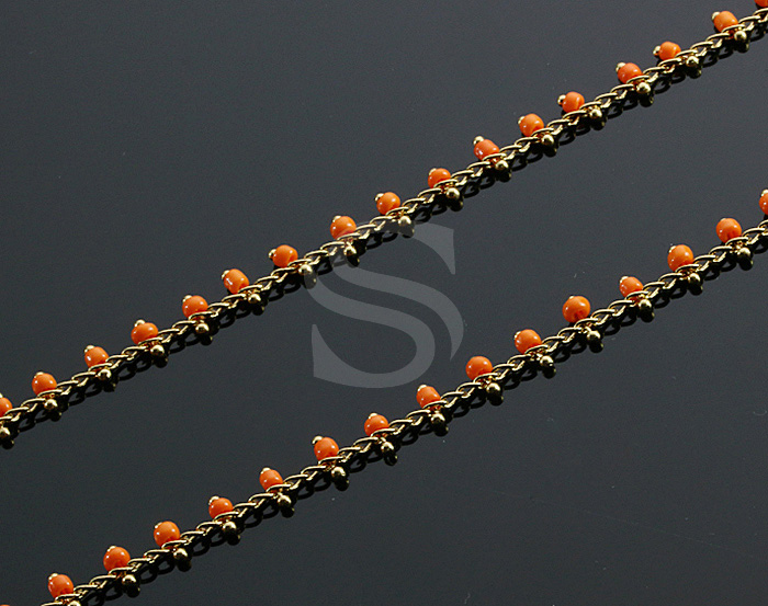[CH1019-GOR] 1m / Beads Charm Chain / 2.3mm