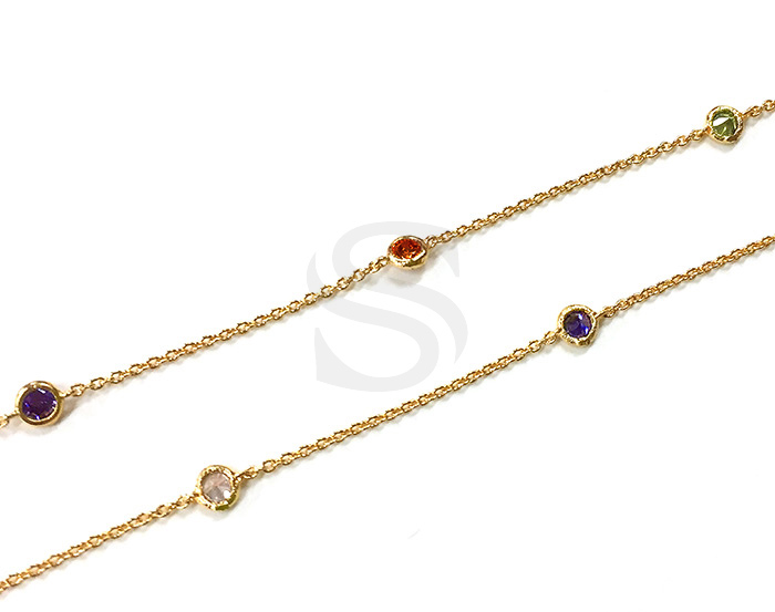 [CH1029-3-GCR] 1m / Small Round Cubic Zirconia Station Chain / 3mm