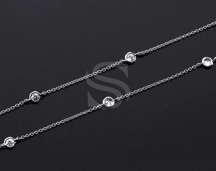 [CH1029-3-RFCR] 1m / Small Round Cubic Zirconia Station Chain / 3mm