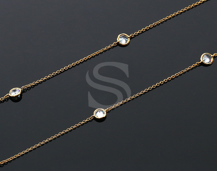 [CH1029-4-GCR] 1m / Small Round Cubic Zirconia Station Chain / 5mm