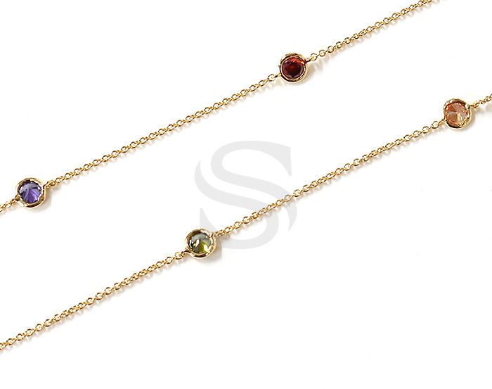 [CH1029-4-GMIX] 1m / Small Round Cubic Zirconia Station Chain / 5mm