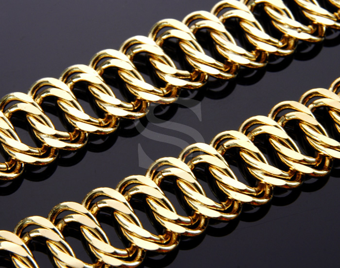 [CH1202-G] 1m / Flat Curved Bold Chain / Brass / 18mm x 1.08mm