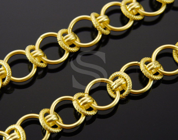 [CH1225-MG] Texture Ring Linked Chain / Brass / 13.8mm , 10.7mm