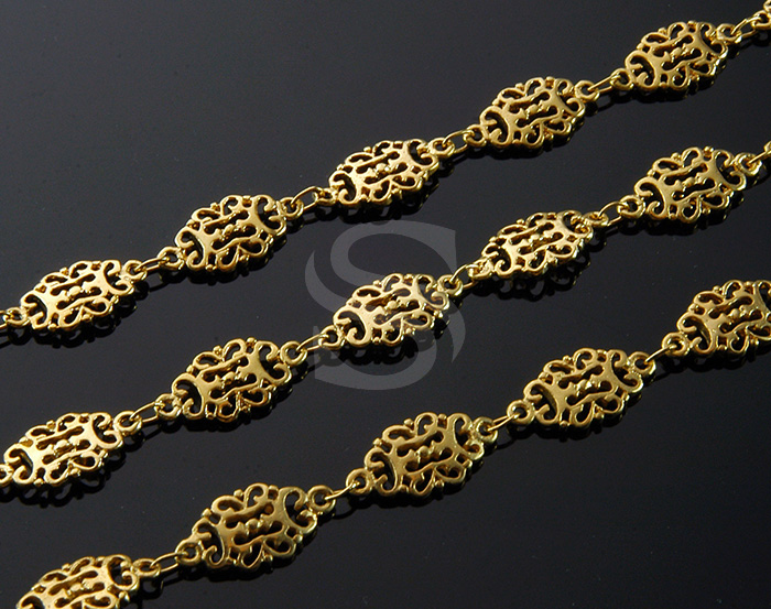 [CH1411-G] 1m / Oriental Pattern Connector / Brass / 7mm x 14mm