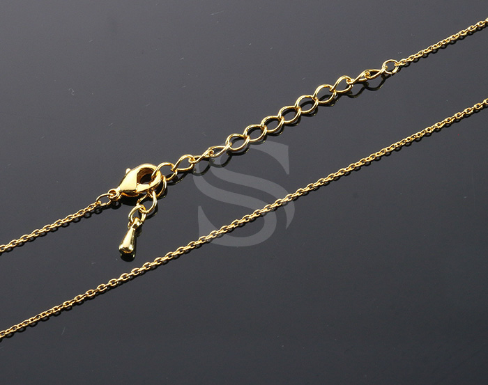 [CH1604-2-G] 2 Pcs / Highly Polished Flat Cable Finished Chain with Extension / Brass / 0.6mm x 400mm +55mm