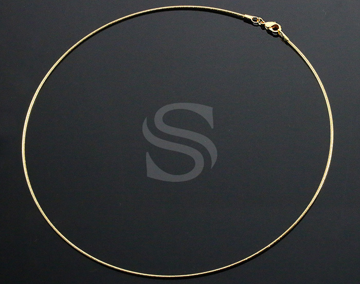 [CH1605-G] 2 Pcs / Omega Chain / Brass / 1mm x 380mm