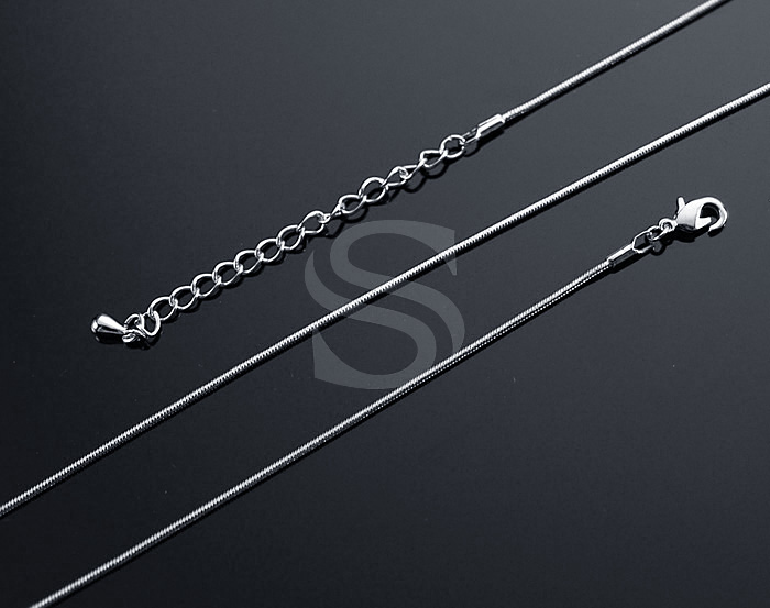 [CH1616-RF] 2Pcs / Snake Chain necklace / Brass / 1.2mm x 400mm