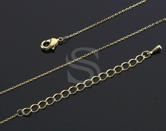 [CH1630-G] 2 Pcs / Highly Polished Flat Cable Chain Necklace / Brass / 400mm