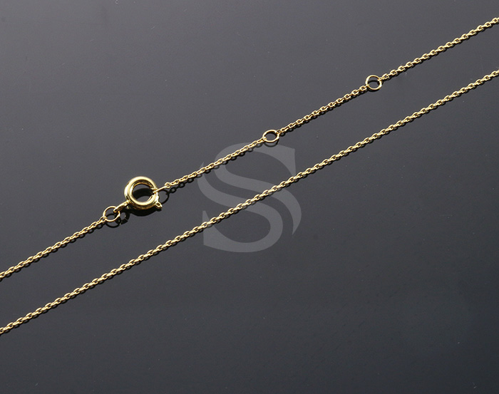 [CH1648-G] 1 Pcs / Highly Polished Flat Cable Chain Necklace / Brass / 400mm+45mm