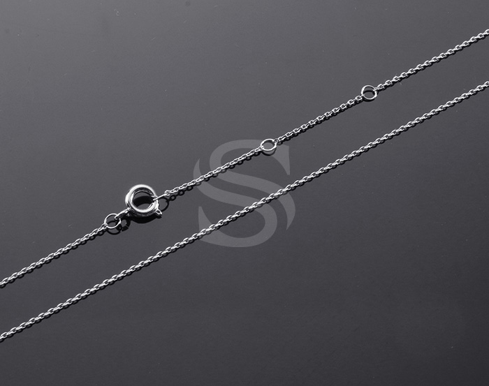 [CH1648-40-RF] 1 Pcs / Highly Polished Flat Cable Chain Necklace / Brass / 400mm+45mm