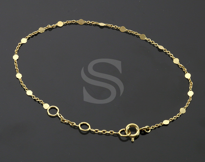 [CH1657-15-G] 2 Pcs / Small Disk Linked Chain / Brass / 150mm