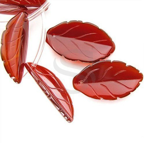 [G0005-CRN] Half Strand / Front to Back Drilled Very Unusual Hand Carved Carnelian Leaf