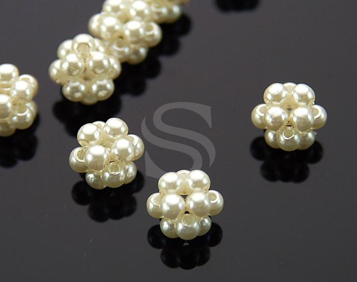 [G0068] 10 Pcs / Hand-Tied 12 Pearls Bead / 8mm