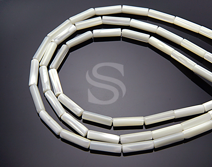 [G0011-WH] Half Strand / Mother of Pearl Tubular Beads