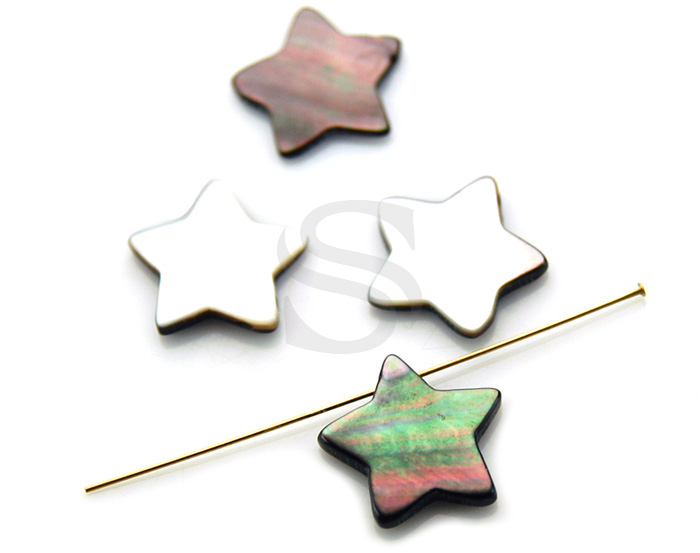 [G0127-P-BL] 4 Pcs / Cute Star Mother of Pearl Peandant / Mother of Pearl / 15.4mm
