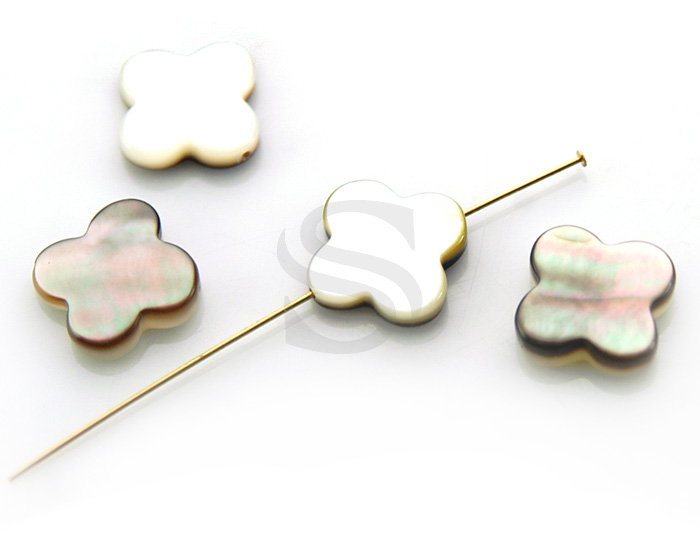 [G0125-C-BL] 4 Pcs / Clover Bead Connector / Mother of Pearl / 13mm