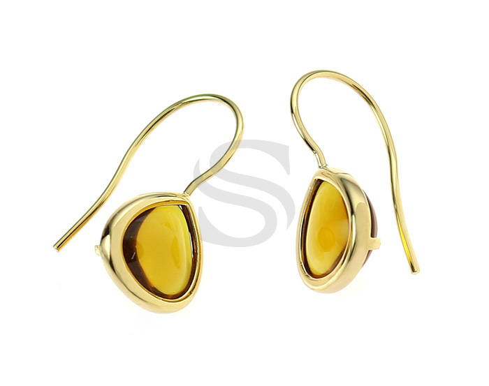 [G0160-H-GBQ] 2 Pcs / Bezel Setting Glass Hook Earring / Glass / 11.5mm x 25.5mm