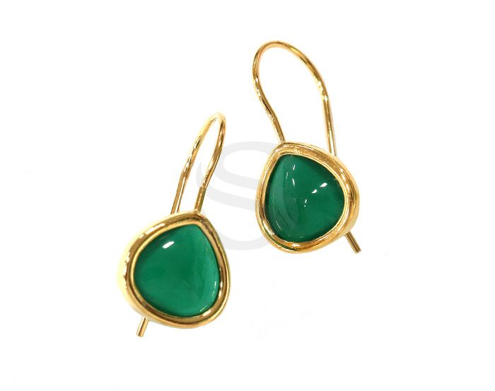 [G0160-H-GGA] 2 Pcs / Bezel Setting Glass Hook Earring / Glass / 11.5mm x 25.5mm