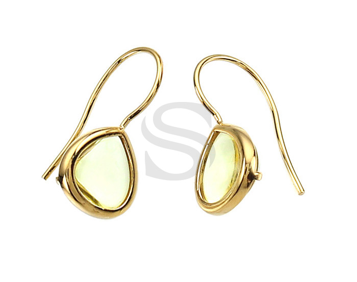 [G0160-H-GJQ] 2 Pcs / Bezel Setting Glass Hook Earring / Glass / 11.5mm x 25.5mm