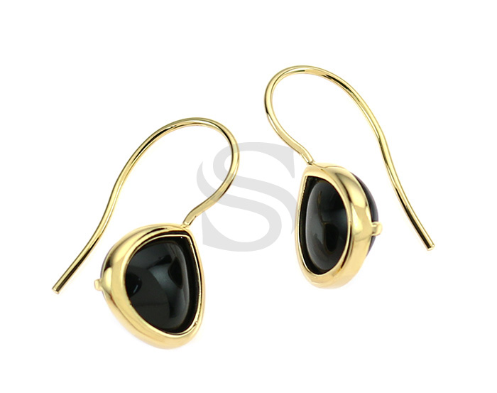 [G0160-H-GJT] 2 Pcs / Bezel Setting Glass Hook Earring / Glass / 11.5mm x 25.5mm
