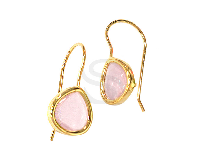 [G0160-H-GRWO] 2 Pcs / Bezel Setting Glass Hook Earring / Glass / 11.5mm x 25.5mm