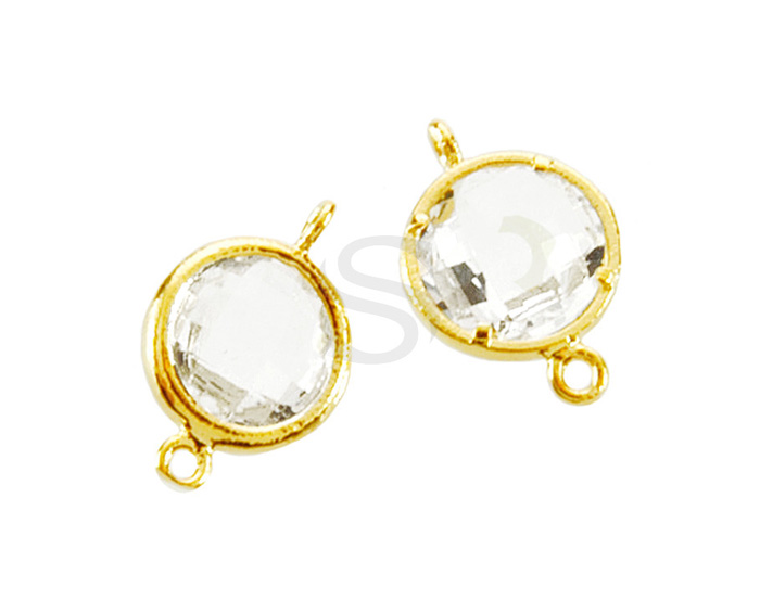 [G0163-C1-GCR] 2 Pcs / Round Shaped Bezel Setting Glass Connector / Glass / 9mm x 14mm