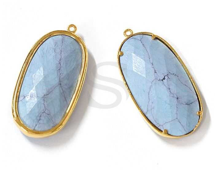 [G0180-P-GTQ] 1 Pcs / Long Oval Glass Pendant / Glass / 16.5mm x 34mm