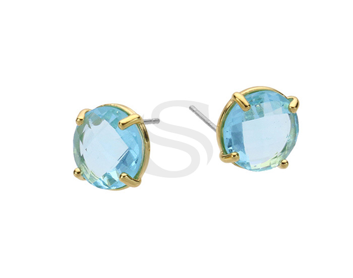 [G0199-E1-GAQM] 2 Pcs / Round Glass Earring / Glass / 10mm