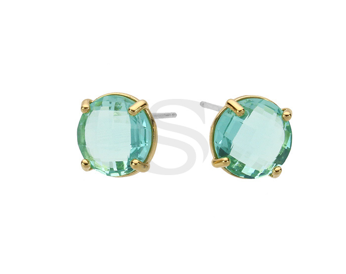 [G0199-E1-GEN] 2 Pcs / Round Glass Earring / Glass / 10mm